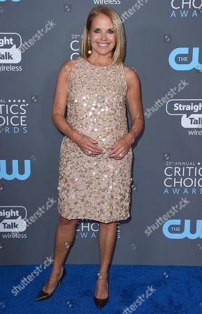 Katie Couric poses in the press room at the 23rd annual Critics' Choice Awards at the Barker Hangar, in Santa Monica, Calif