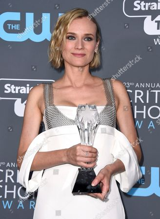 """Diane Kruger, winner of the award for best foreign language film for """"In The Fade"""", poses in the press room at the 23rd annual Critics' Choice Awards at the Barker Hangar, in Santa Monica, Calif"""