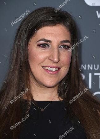 Mayim Bialik poses in the press room at the 23rd annual Critics' Choice Awards at the Barker Hangar, in Santa Monica, Calif