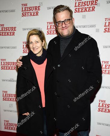 "Edie Falco, Stephen Wallem. Actors Edie Falco, left, and Stephen Wallem attend a special screening of ""The Leisure Seeker"" at AMC Loews Lincoln Square, in New York"