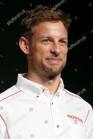 British racing driver Jenson Button attends a news conference for Honda Motor Co., Ltd