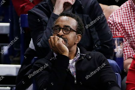 Actor and comedian Tim Meadows looks on during the second half of an NCAA college basketball game between Gonzaga and Portland in Spokane, Wash