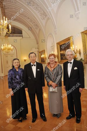 UN Secretary-General Ban Ki-moon and wife Soon-Taek with Finnish President Tarja Halonen and husband Dr. Pentti Arajarvi, attend banquet