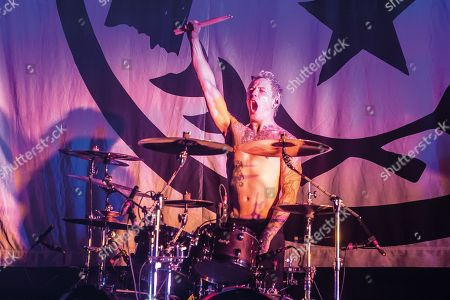 London United Kingdom - April 8: Drummer James Cassells Of English Metalcore Group Asking Alexandria Performing Live On Stage At The O2 Academy Brixton In London On April 8