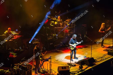London United Kingdom - February 18: Progressive Rock Musician Steve Hackett Performing Live On Stage With His Band At City Hall In Sheffield On May 3