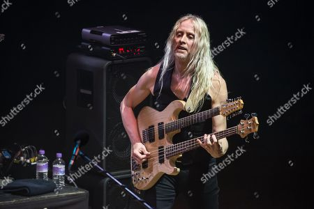 London United Kingdom - February 18: Bassist Nick Beggs Performing Live On Stage With Steve Hackett At City Hall In Sheffield On May 3