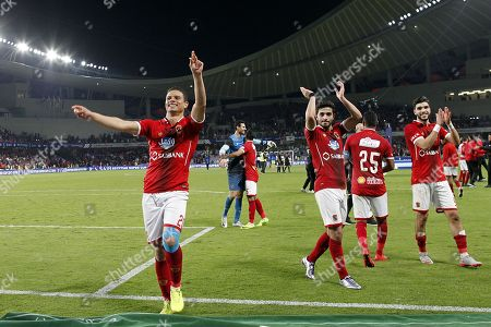 Al-Ahly player Saad Samir (L)  celebrates winning the Egyptian Super Cup football match between Al-Ahly and Al Masry at Hazza bin Zayed Stadium, City of al-Ain, Abu Dhabi, United Arab Emirates, 12 January 2018.