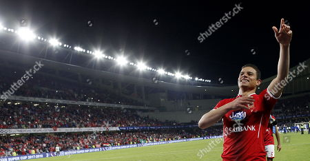 Al-Ahly player Saad Samir celebrates winning the Egyptian Super Cup football match between Al-Ahly and Al Masry at Hazza bin Zayed Stadium, City of al-Ain, Abu Dhabi, United Arab Emirates, 12 January 2018.