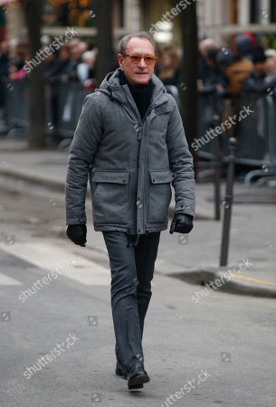 Former Paris mayor Bertrand Delanoe arrives at the Montmartre cemetery for French singer France Gall's burial in Paris, Friday, Jan.12, 2018. French pop singer France Gall, who shot to fame in the 1960s by winning the Eurovision Song Contest then produced hits and sold millions of albums over a four-decade career, died last Sunday. She was 70