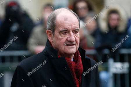 Pierre Lescure, head of the Cannes Film Festival, arrives at the Montmartre cemetery for French singer France Gall's burial in Paris, Friday, Jan.12, 2018. French pop singer France Gall, who shot to fame in the 1960s by winning the Eurovision Song Contest then produced hits and sold millions of albums over a four-decade career, died last Sunday. She was 70