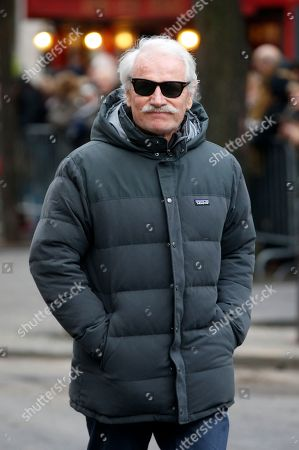 French photographer Yann Arthus Bertrand arrives at the Montmartre cemetery for French singer France Gall's burial in Paris, Friday, Jan.12, 2018. French pop singer France Gall, who shot to fame in the 1960s by winning the Eurovision Song Contest then produced hits and sold millions of albums over a four-decade career, died last Sunday. She was 70