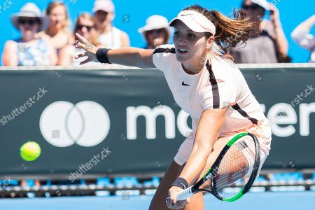 Laura Robson of the United Kingdom in action during the doubles round 1 of the Australian Open Tennis Grand Slam.