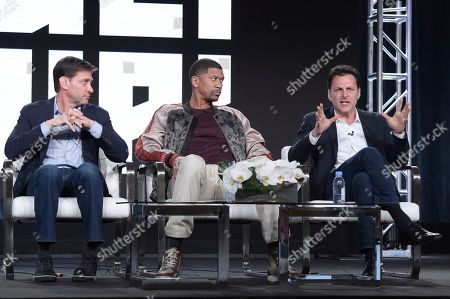 """Mike Greenberg, Jalen Rose, Bill Wolff. Mike Greenberg, from left, Jalen Rose and Bill Wolff participate in the """"Get Up"""" panel during the ESPN Television Critics Association Winter Press Tour, in Pasadena,Calif"""