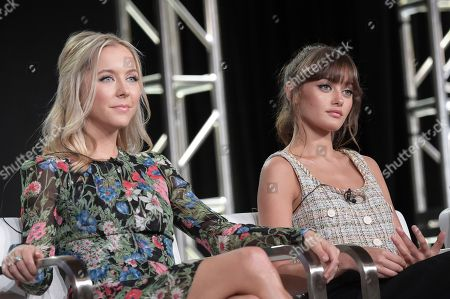 """Stephanie Danler, Ella Purnell, Stuart Zicherman. Stephanie Danler, left, and Ella Purnell participate in the """"Sweetbitter"""" panel during the Starz Television Critics Association Winter Press Tour, in Pasadena,Calif"""