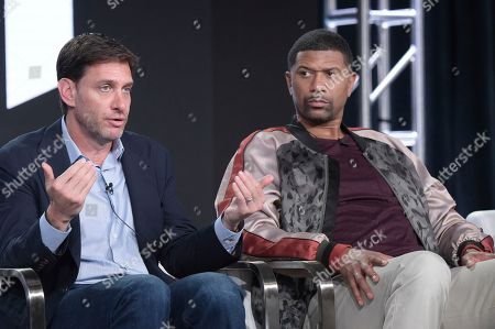 """Mike Greenberg, Jalen Rose. Mike Greenberg, left, and Jalen Rose participate in the """"Get Up"""" panel during the ESPN Television Critics Association Winter Press Tour, in Pasadena,Calif"""