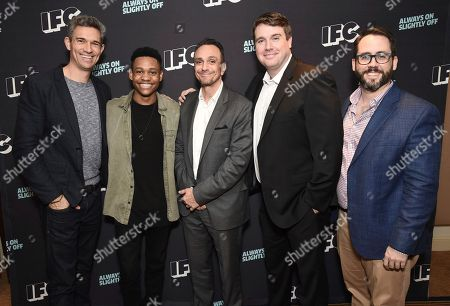 Mike Farah, Funny or Die CEO, from left,Tyrel Jackson Williams,Hank Azaria, Joel Church-Cooper, and Joe Farrell, Brockmire executive producer, attend the IFC Winter TCA Press Tour at the Langham Huntington Hotel on in Pasadena, Calif