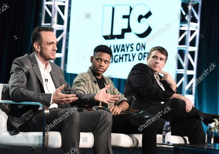 Hank Azaria, Tyrel Jackson Williams, Joel Church-Cooper. Hank Azaria, from left, Tyrel Jackson Williams, and Joel Church-Cooper take part in the Brockmire panel discussion during the IFC Winter TCA Press Tour at the Langham Huntington Hotel on in Pasadena, Calif