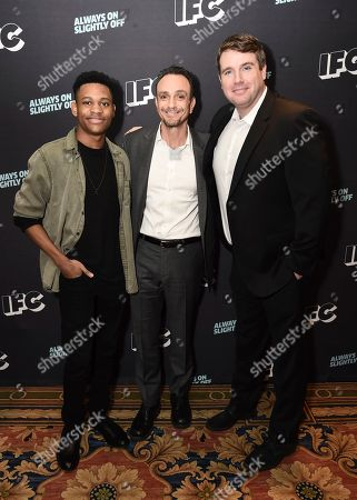 Tyrel Jackson Williams, Hank Azaria, Joel Church-Cooper. Tyrel Jackson Williams, from left, Hank Azaria, and Joel Church-Cooper attend the IFC Winter TCA Press Tour at the Langham Huntington Hotel on in Pasadena, Calif