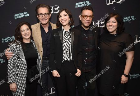 Christine Lubrano, Jennifer Caserta, Kyle MacLachlan, Carrie Brownstein, Fred Armisen. Jennifer Caserta, IFC President, from left, Kyle MacLachlan, Carrie Brownstein, Fred Armisen, and Christine Lubrano, SVP, IFC Original Programming, attend the IFC Winter TCA Press Tour at the Langham Huntington Hotel on in Pasadena, Calif