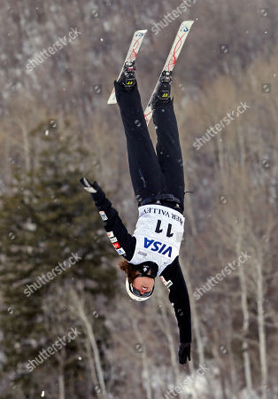 United States' Ashley Caldwell (11) competes in a women's World Cup freestyle aerials event at Deer Valley resort, in Park City, Utah