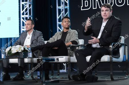 "Hank Azaria, Tyrel Jackson Williams, Joel Church Cooper. Hank Azaria, from left, Tyrel Jackson Williams and Joel Church Cooper participate in the ""Brockmire"" panel during the IFC Television Critics Association Winter Press Tour, in Pasadena,Calif"