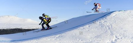 (L-R) Viktor Andersson of Sweden, Erik Mobaerg of Sweden, Jean Frederic Chapuis opf France, and Thomas Zangerl of Auistria in action during the men's freestyle ski cross in Idre Fjall, Sweden, 13 January 2018.