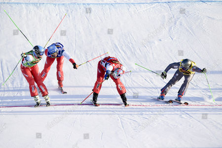 Alex Fiva, SUI, Marc Bischofberger, SUI, Jean Frederic Chapuis, FRA,and Romain Detraz, SUI, in the big final during the men?s freestyle ski cross in Idre Fjall, Sweden on Saturday, 13 January, 2018.