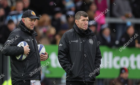 Exeter Chiefs Assistant Coach, Robin Hunter with Exeter Chiefs Director of Rugby, Rob Baxter during the European Rugby Champions Cup match between Exeter Chiefs and Montpellier at Sandy Park on January 13th 2018, Exeter, Devon (
