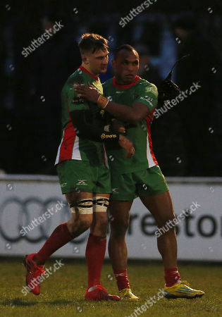 George Mills of Plymouth Albion and Raumakita Setareki of Plymouth Albion celebrate the win during the National Division 1 match between Fylde v Plymouth Albion at the Woodlands Memorial Ground, on January 13 2018, Lytham St. Annes, Lancashire, UK.