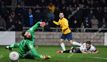 Jake Gosling of Torquay United shoots as the ball just past on the wrong side of the goal post, during the Vanarama National League match between Torquay United and Eastleigh at Plainmoor, Torquay, Devon on January 13