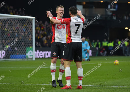 James Ward-Prowse of Southampton celebrates his second goal with Shane Long, 0-2
