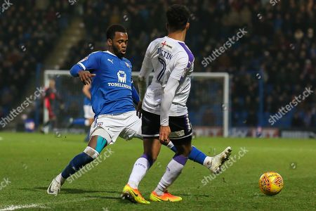 Chesterfield midfielder Zavon Hines blocks a pass during the EFL Sky Bet League 2 match between Chesterfield and Luton Town at the Proact stadium, Chesterfield