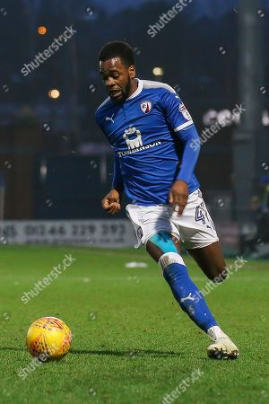Chesterfield midfielder Zavon Hines runs with the ball during the EFL Sky Bet League 2 match between Chesterfield and Luton Town at the Proact stadium, Chesterfield