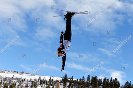 United States' Ashley Caldwell (11) jumps during a practice run at the World Cup freestyle aerials event at Deer Valley resort, in Park City, Utah