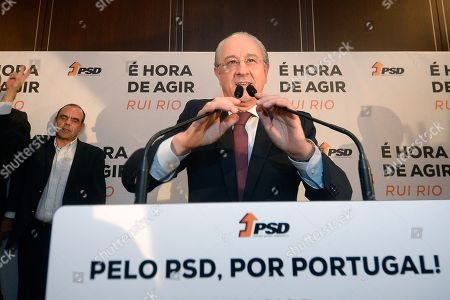 Stock Image of Social Democratic Party (PSD) candidate, Rui Rio, makes his victory speech after winning the direct elections for the leadership of the party, Porto, Portugal, 13 January 2018. More than 70,000 PSD militants voted to choose the next social-democratic president and successor of Pedro Passos Coelho in the direct elections between Pedro Santana Lopes and Rui Rio.