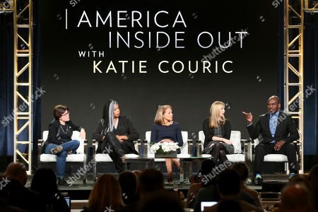 Kara Swisher, Erica Baker, Katie Kouric, Allison Schroeder, Julius Tennon. Kara Swisher, from left, Erica Baker, Katie Kouric, Allison Schroeder and Julius Tennon participate in the 'America Inside Out with Katie Kouric' panel during the National Geographic Television Critics Association Winter Press Tour, in Pasadena, Calif