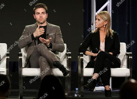 Colt Prattes, Cheryl Hines. Colt Prattes, left, and Cheryl Hines participate in the 'This Close' panel during the SundanceTV Television Critics Association Winter Press Tour, in Pasadena, Calif