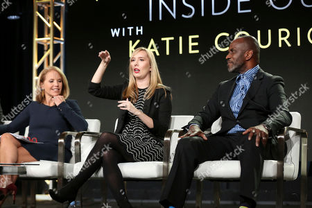 Stock Photo of Katie Kouric, Allison Schroeder, Julius Tennon. Katie Kouric, from left, Allison Schroeder and Julius Tennon participate in the 'America Inside Out with Katie Kouric' panel during the National Geographic Television Critics Association Winter Press Tour, in Pasadena, Calif