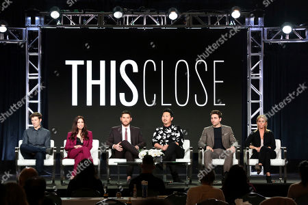 Zach Gilford, Shoshannah Stern, Josh Fieldman, Andrew Ahn, Colt Prattes, Cheryl Hines. Zach Gilford, from left, Shoshannah Stern, Josh Fieldman, Andrew Ahn, Colt Prattes and Cheryl Hines participate in the 'This Close' panel during the SundanceTV Television Critics Association Winter Press Tour, in Pasadena, Calif