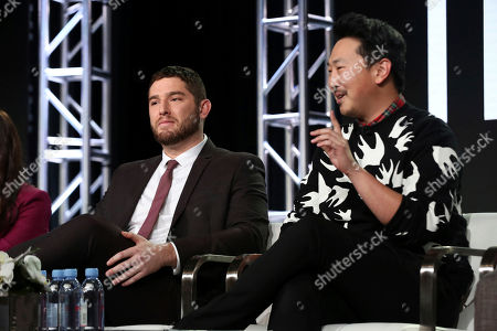 Stock Picture of Josh Fieldman, Andrew Ahn. Josh Fieldman, left, and Andrew Ahn participate in the 'This Close' panel during the SundanceTV Television Critics Association Winter Press Tour, in Pasadena, Calif