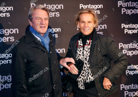 Former French Foreign Minister Bernard Kouchner, left, and French journalist Christine Ockrent poses for photographers on arrival at the French premiere of the film 'The Post' in Paris, France, . The title of the French version is 'The Pentagon Papers