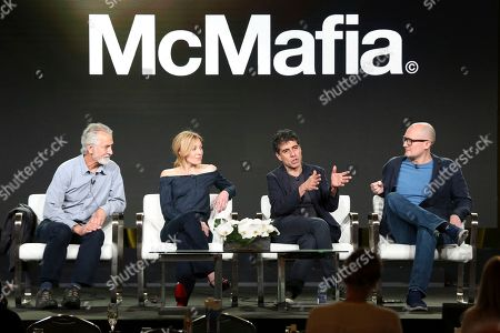 David Strathairn, Juliet Rylance, Hossein Amini, James Watkins. David Strathairn, from left, Juliet Rylance, Hossein Amini and James Watkins participate in the 'McMAfia' panel during the AMC Television Critics Association Winter Press Tour, in Pasadena, Calif