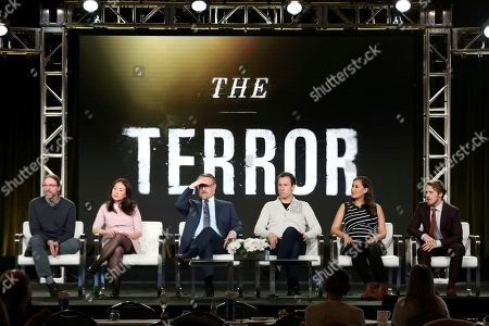 David Kajganich, Soo Hugh, Jared Harris, Tobias Menzies, Nive Nielsen, Adam Nagaitis. David Kajganich, from left, Soo Hugh, Jared Harris, Tobias Menzies, Nive Nielsen and Adam Nagaitis participate in the 'The Terror' panel during the AMC Television Critics Association Winter Press Tour, in Pasadena, Calif