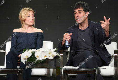 Stock Picture of Juliet Rylance, Hossein Amini. Juliet Rylance, left, and Hossein Amini participate in the 'McMAfia' panel during the AMC Television Critics Association Winter Press Tour, in Pasadena, Calif