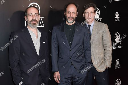 Marco Morabito, Luca Guadagnino, Peter Spears. Marco Morabito, from left, Luca Guadagnino and Peter Spears attend the 43rd Annual Los Angeles Film Critics Association Awards, in Los Angeles