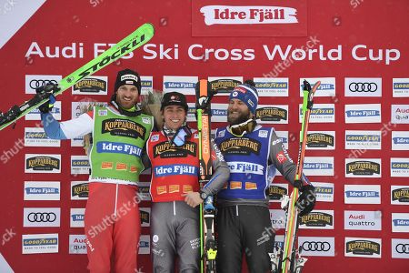 Alex Fiva, SUI, Jean Frederic Chapuis, FRA  and Jonas Devouassoux, FRA, pose for photographers on the medals podium after the men?s freestyle ski cross finals in Idre Fjall, Sweden on Sunday, 14 January, 2018.