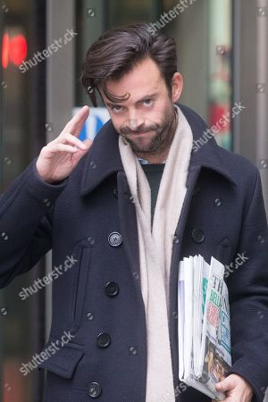 Jolyon Rubinstein, Comedian and actor, leaves the BBC studios after appearing on the Andrew Marr Television Programme