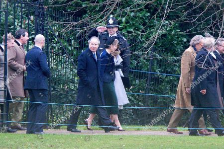 David Armstrong-Jones and Serena Armstrong-Jones arriving at St Mary Magdalene Church for morning service
