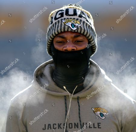 Jacksonville Jaguars linebacker Blair Brown warms up before an NFL divisional football AFC playoff game against the Pittsburgh Steelers in Pittsburgh