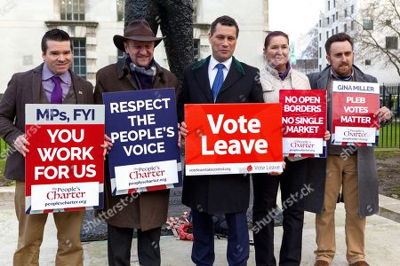 Steven Woolfe MEP. (centre). Campaigners hold Pro-Brexit Rally organised by The People's Charter Foundation outside Downing Street in protest at Theresa May's proposed soft Brexit deal.